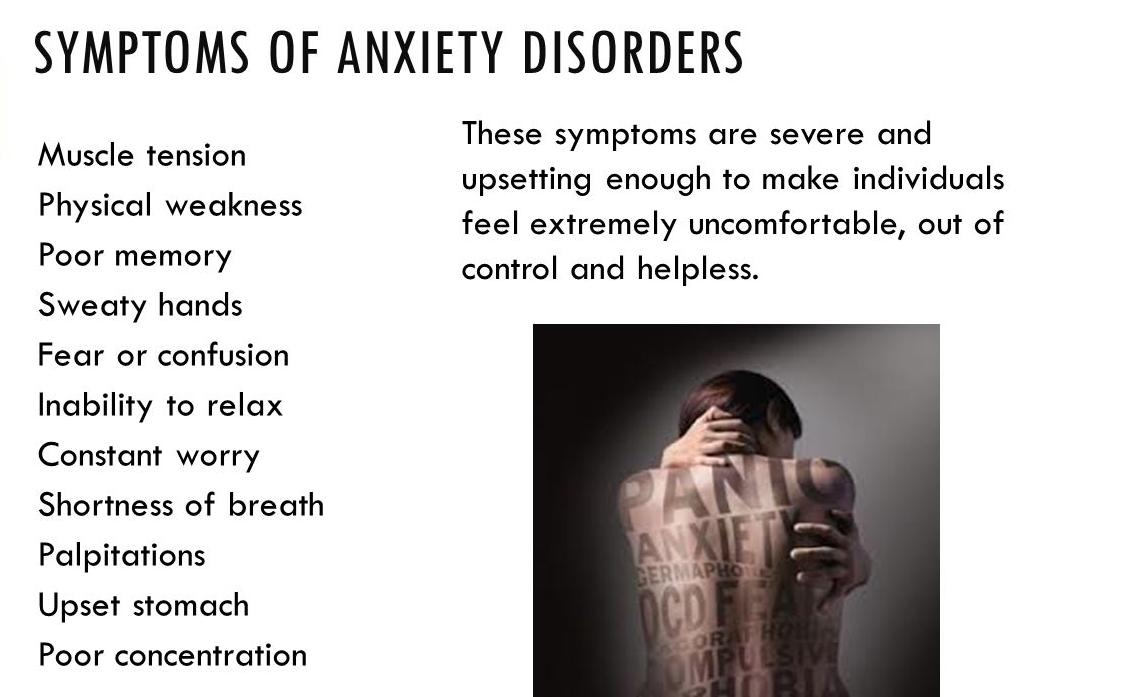 anxiety disorder Anxiety is a feeling of apprehension, fear, or worry some fears and worries are justified, such as worry about a loved one when anxiety symptoms compromise daily life functions, that's when its classified as one of several anxiety disorders identified by.