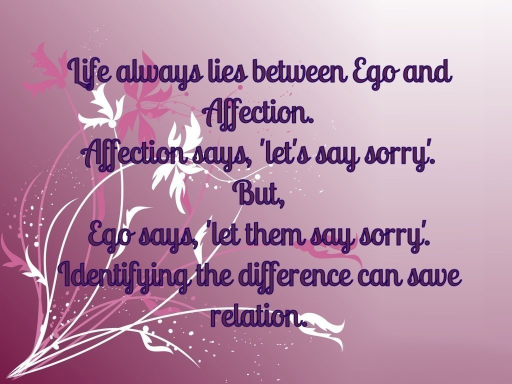 Quote on ego and affection