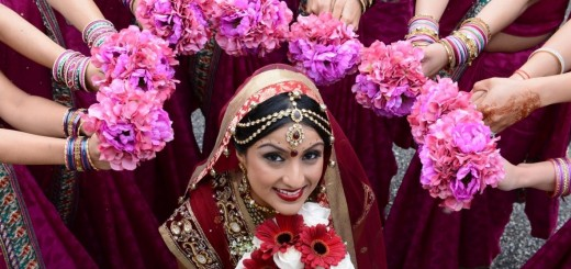 Indian bride with flowers