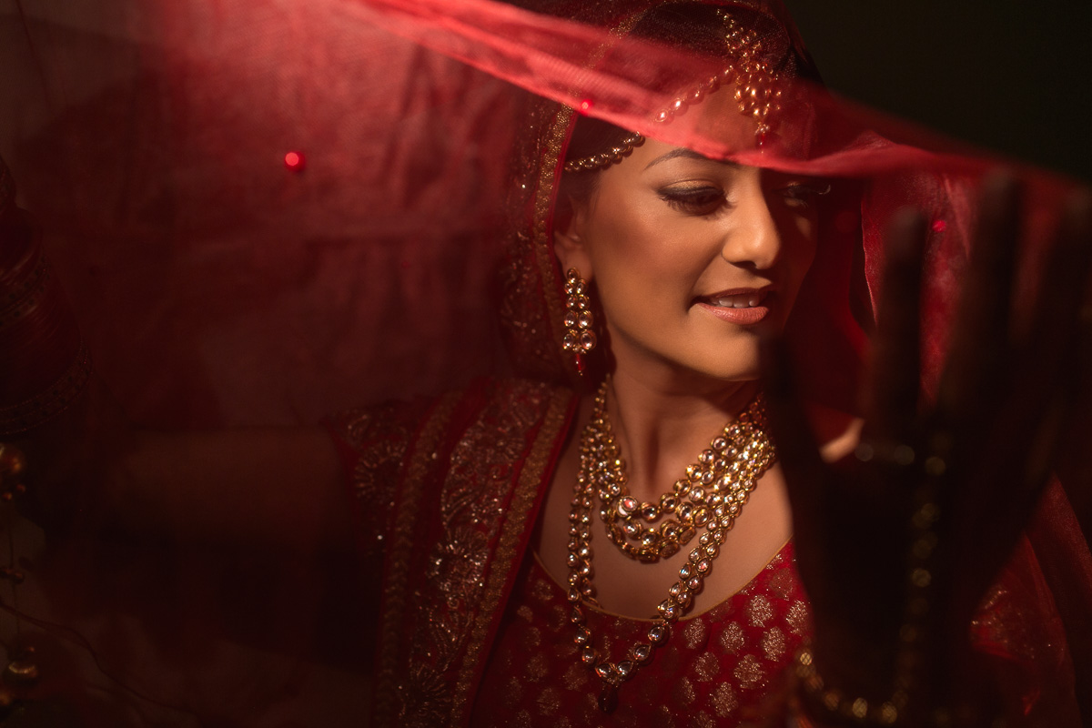 indian bride in red lengha