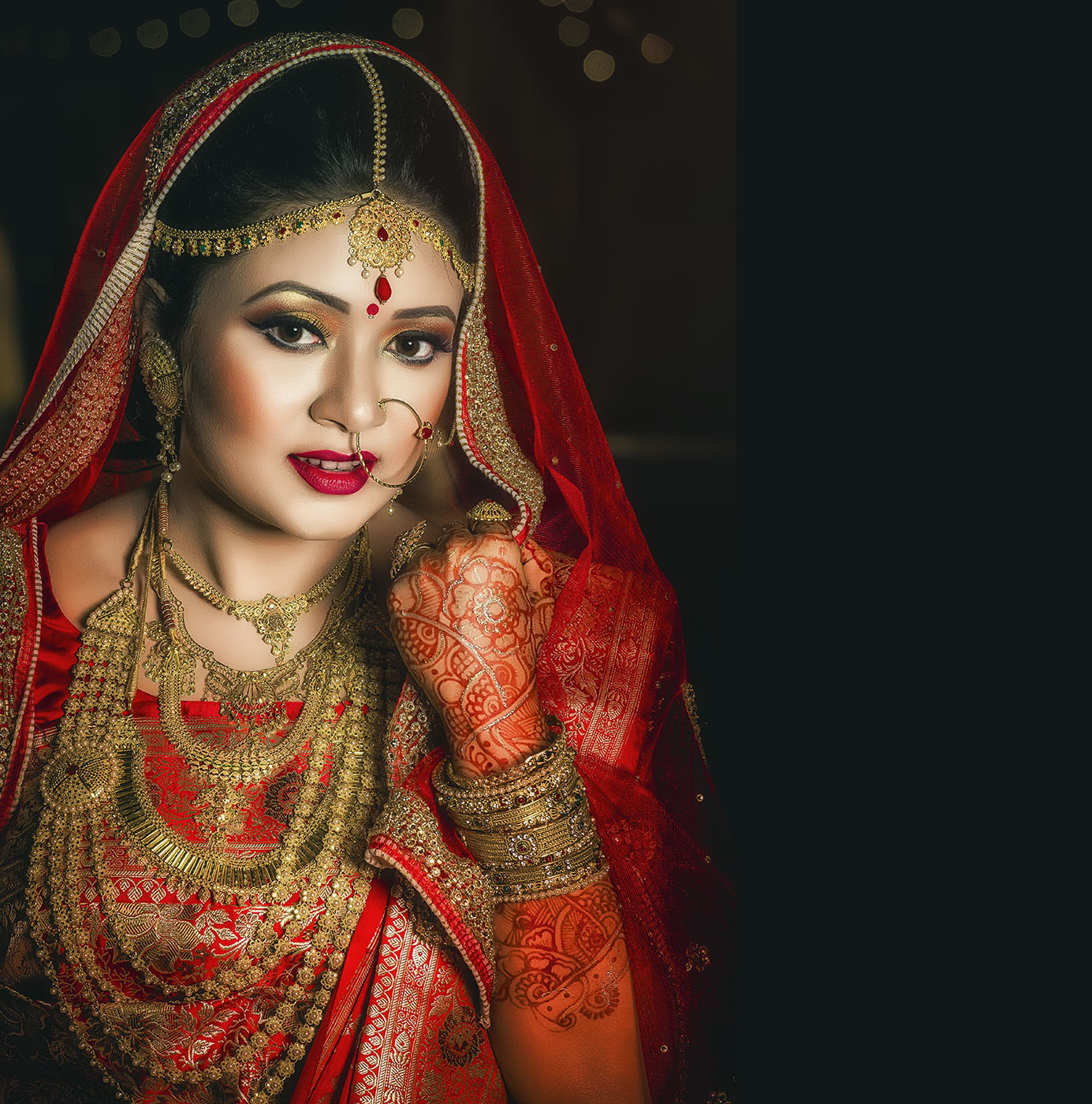 Indian bride with red sarre